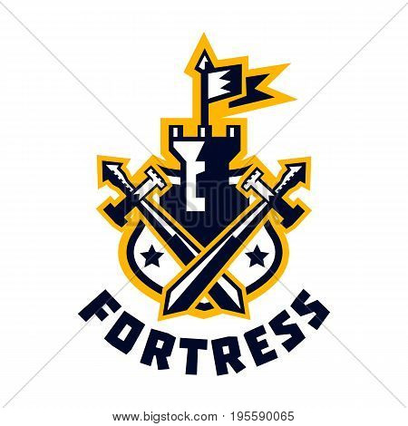 Logo fortress. Castle and flag, swords cross located on the shield. Sprockets, wreath. The emblem on the Middle Ages and the war. Vector illustration. Flat style