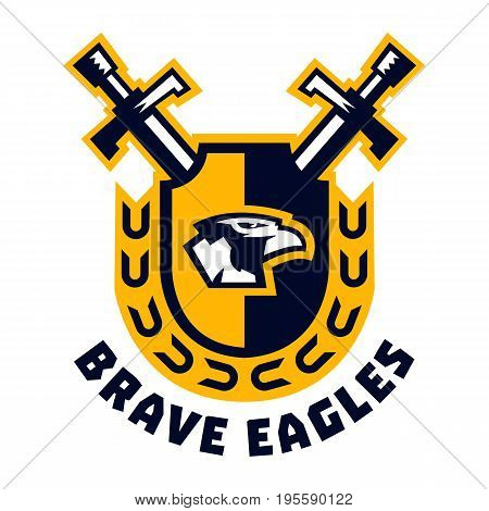 Logo brave eagles. Eagle head located on the shield. Swords and wreath. The emblem on the Middle Ages and the war. Vector illustration. Flat style
