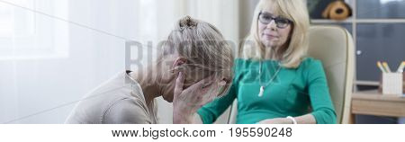 Woman Crying During Therapy