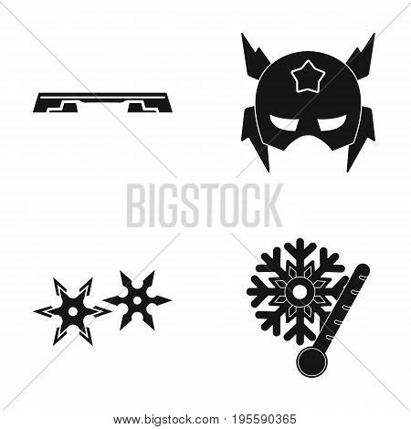 Fitness bench, mask and other  icon in black style.seruken, low temperature icons in set collection.