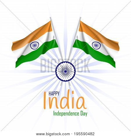 India independence day event card. Flags and a navy blue wheel with in the centre. Culture and customs concept. State holiday history. Realistic vector illustration on white background