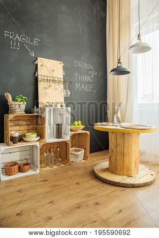 Diy Furniture From Crates And Cable Stool