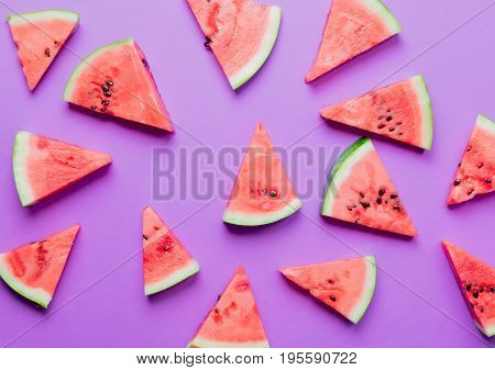 Above View At Watermelon Cut Parts