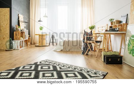 Eco Style Apartment With Wooden Furniture