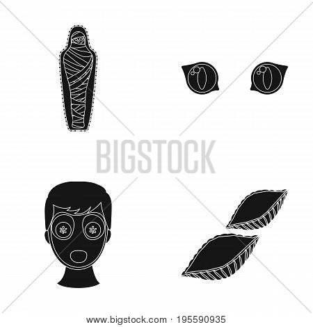 Mummy of the pharaoh, eyes and other  icon in black style.man's appearance, pasta icons in set collection.