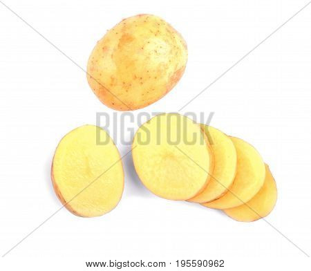 Carefully sliced bright brown potato isolated on a white background. Delicious potatoes for vegetarian nutritious diets. Healthful agriculture ingredients for homemade meals.