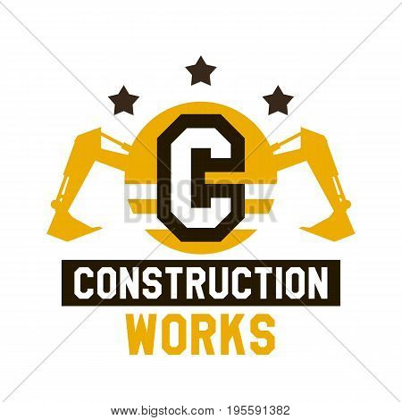 Logo of construction work. The letter in the middle of the circle. Excavator, hydraulic equipment. Vector illustration. Flat style.