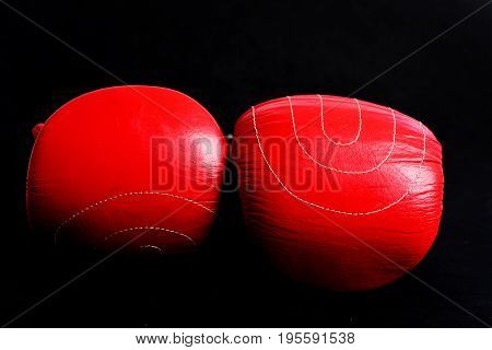 Boxing Gloves Made Of Leather In Red Colour With Shines