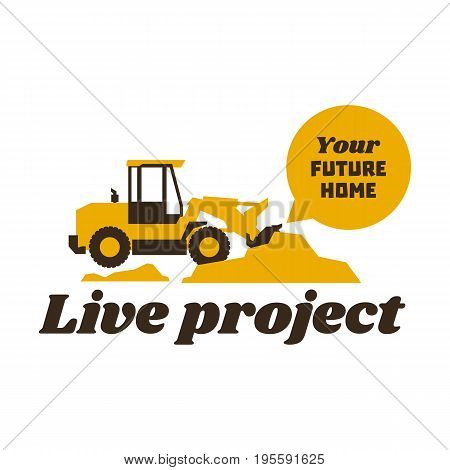 Logo front loader. Construction equipment at work. The excavation of the earth. Vector illustration. Flat style.
