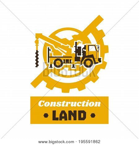 Logo of construction equipment. Globe, earth, gear. Drilling truck. The excavation of land. Vector illustration. Flat style