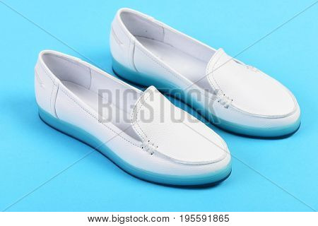 Moccasins For Women In White Color. Summer Fashion