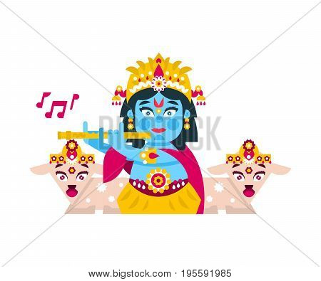 Lord Krishna sitting in the lotus position, in jewelry, plays the flute in goats environment. Music, deity, animals. Vector illustration. Flat style