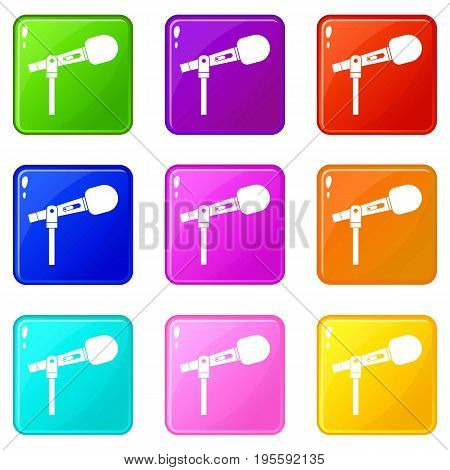Microphone icons of 9 color set isolated vector illustration