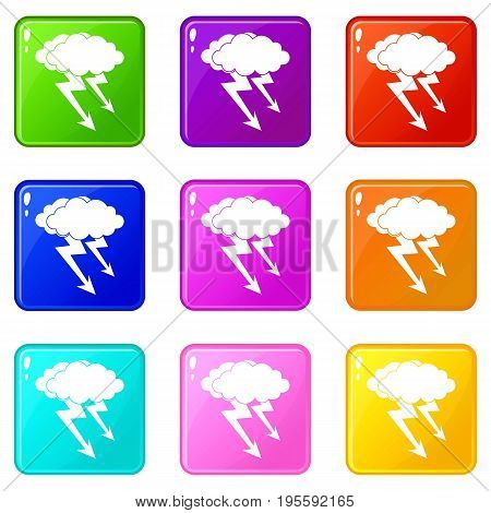 Lightning cloud icons of 9 color set isolated vector illustration