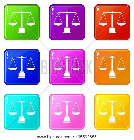 Justice scale icons of 9 color set isolated vector illustration