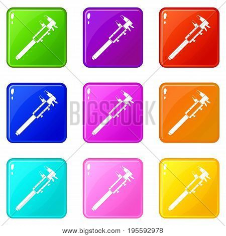 Vernier caliper icons of 9 color set isolated vector illustration