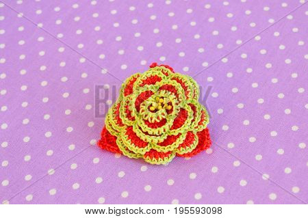Beautiful crocheted flower. Crocheted floral decoration crafts