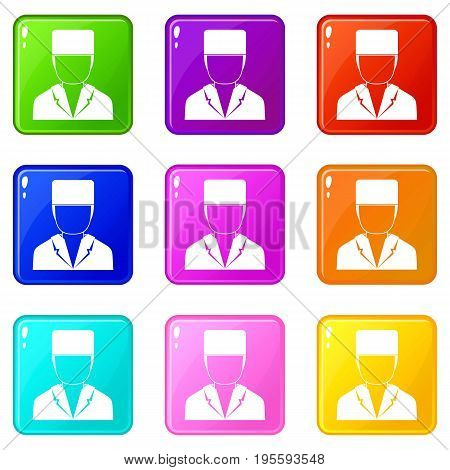 Medical doctor icons of 9 color set isolated vector illustration