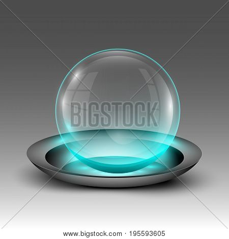 Vector illustration of clear turquoise illuminated sphere on plate emblem.
