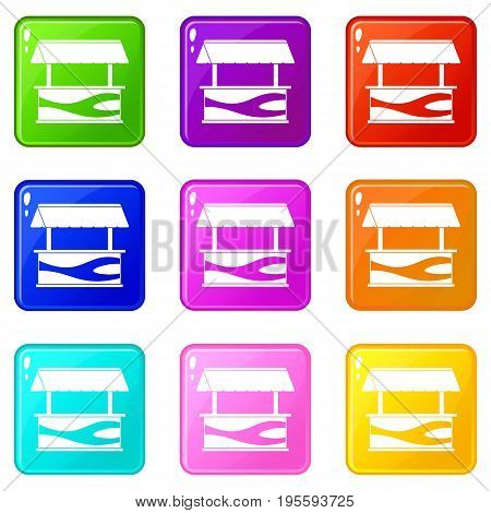 Market stall with awning icons of 9 color set isolated vector illustration
