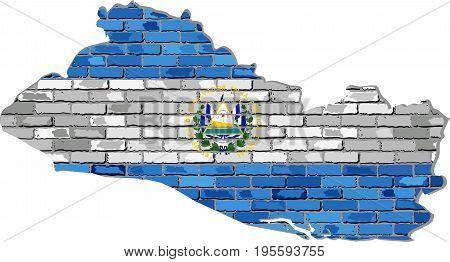 El Salvador map on a brick wall - Illustration,   El Salvador map with flag inside