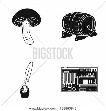 Mushroom, wooden barrel and other  icon in black style. inkwell, motherboard icons in set collection.