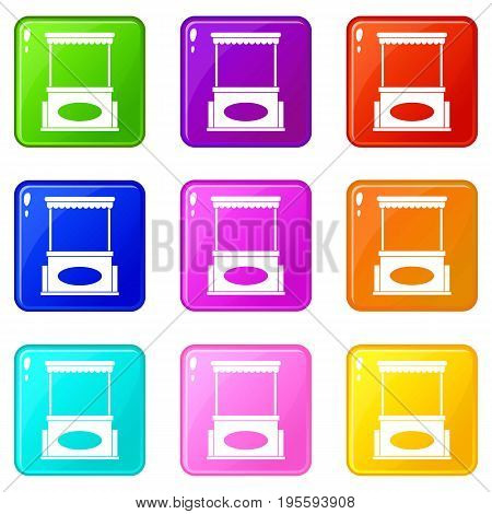 Street kiosk icons of 9 color set isolated vector illustration