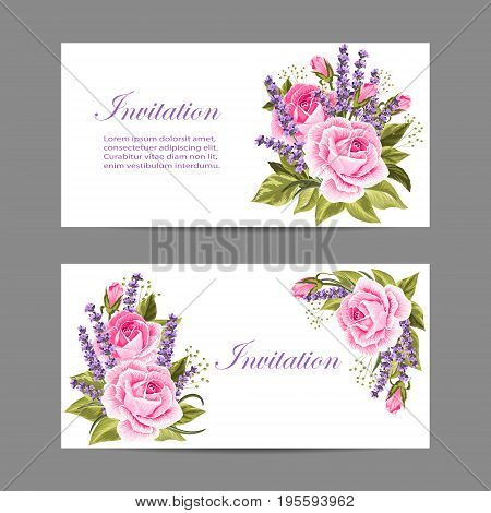Set of horizontal banners. Beautiful compositions with pink roses and violet lavenders isolated on white.