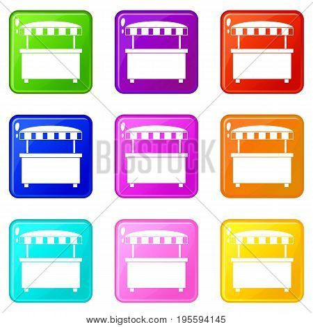 Street stall with awning icons of 9 color set isolated vector illustration