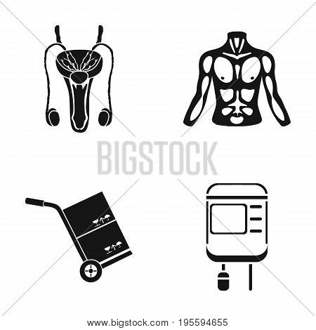 Male reproductive system, male torso and other  icon in black style. cart for transportation, medical device icons in set collection.