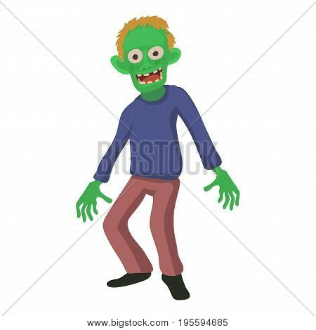 Smiling zombie icon. Cartoon illustration of zombie vector icon for web