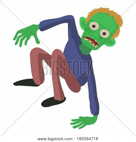 Zombie on the floor icon. Cartoon illustration of zombie vector icon for web