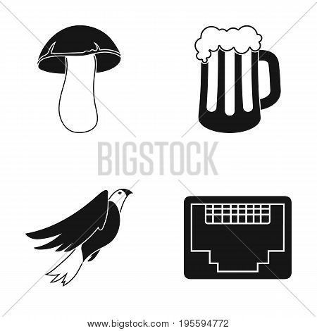 White mushroom, a glass of beer and other  icon in black style. Orel, connector for cable icons in set collection.