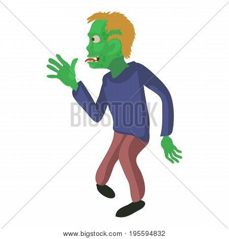 Zombie from the side icon. Cartoon illustration of zombie vector icon for web