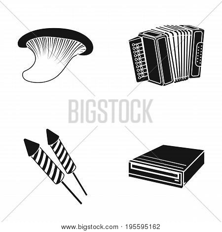 Mushroom, accordion and other  icon in black style. petard, dvd-rom icons in set collection.