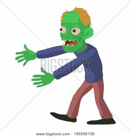 Walking zombie icon. Cartoon illustration of zombie vector icon for web