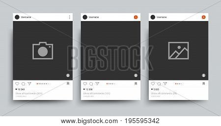 Social network photo frame isolated template. Image posting networking vector concept. Comment button and modern application for photo web illustration