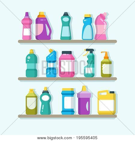 Household cleaner products and laundry goods on shelves. House cleaning service vector concept. Detergent cleaner and wash, housework with soap disinfectant illustration