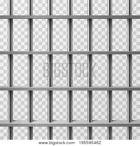 Jail cell bars isolated. Prison vector background. Illustration of prison cage metal