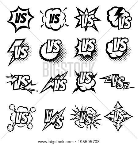 Versus vector logo set. Argue fight symbols in cartoon comic style. Versus challenge and battle fight, sport and game vs illustration