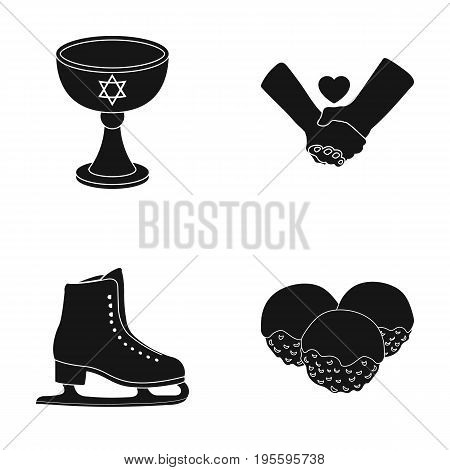 Sasha, handshake and other  icon in black style. figure skater, Desert icons in set collection.