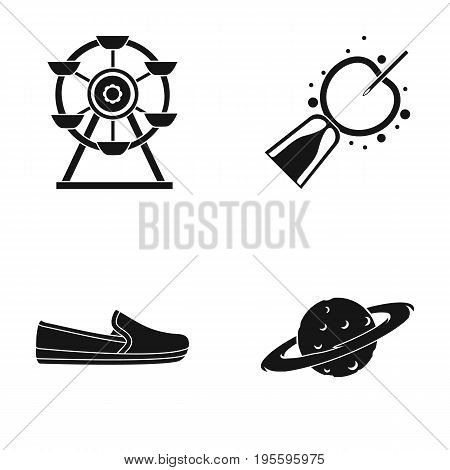 Ferris wheel, artificial insemination and other  icon in black style. shoes, Saturn icons in set collection.