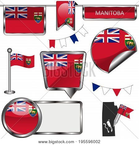 Glossy Icons With Flag Of Province Manitoba