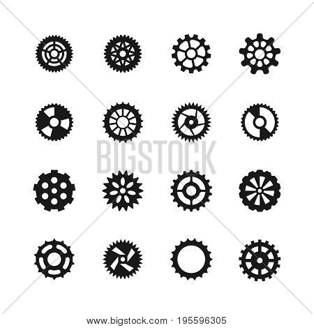 Gear vector icons. Transmission with cogwheel and mechanism gears symbols. Gear mechanism wheel, illustration of mechanical cogwheel