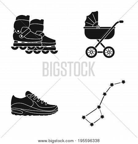 Rollers, stroller and other  icon in black style. shoes, constellation icons in set collection. poster