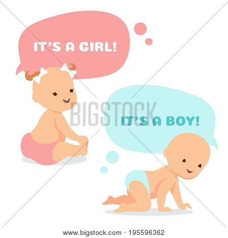 Cartoon baby with thinking bubbles. Cute newborn girl and boy vector illustration. Infant and newborn baby boy and girl