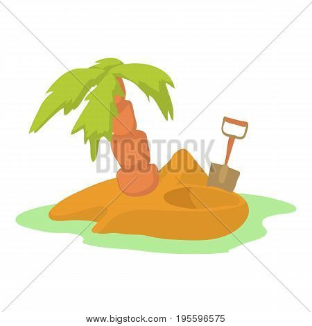 Pirate island icon. Cartoon illustration of pirate island vector icon for web