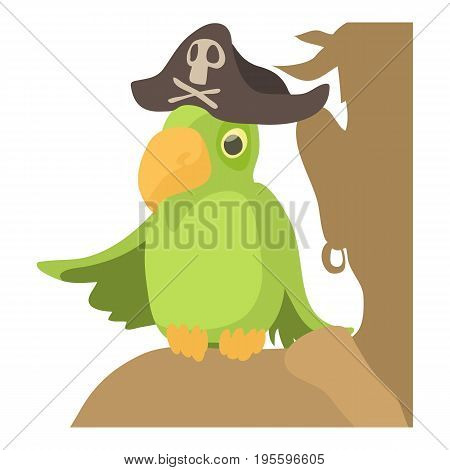 Pirate parrot icon. Cartoon illustration of pirate parrot vector icon for web