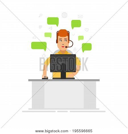 Customer service representative wearing a headset at the office. Customer support center via phone mail operator service icons concept vector flat illustration. Call center - stock vector
