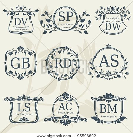 Vintage elegance wedding monograms with floral frames. Vector stock. Floral monogram frame logo with letter illustration